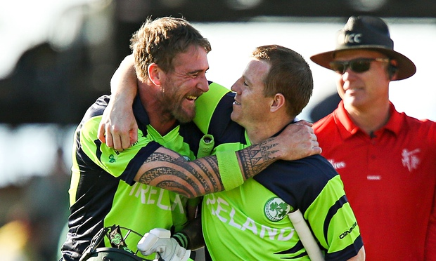John Mooney, left, and Niall O'Brien celebrate Ireland's win over West Indies at the World Cup